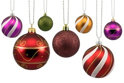 colorful ornate christmas baubles, isolated on white