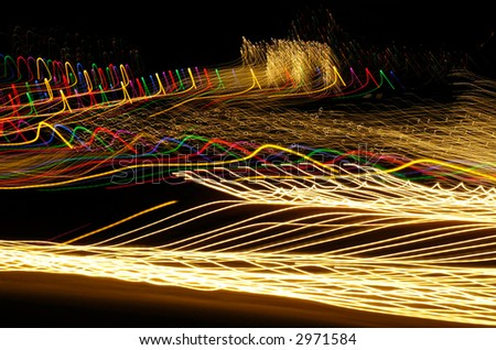 colorful outdoor lights, shots made with a slow exposure time