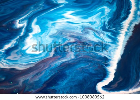Colorful paint background in concept Marble luxury texture. Colors dropped into liquid and photographed while in motion. Fantasy abstract composition. #1008060562