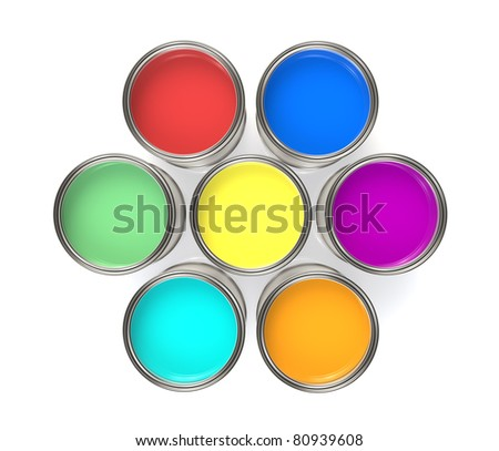 Colorful Paint Buckets, Isolated. Paint Buckets in a Circle Formation