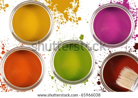 colorful paint buckets with color spots