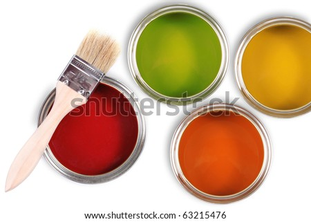 colorful paint buckets with paintbrush - stock photo
