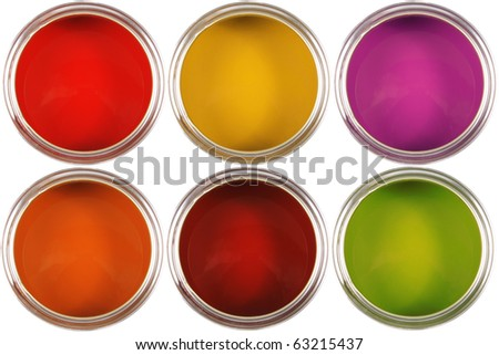 colorful paint cans isolated on white