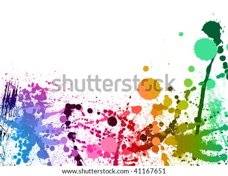 colorful paint splashes background - stock photo