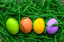 Colorful painted eggs, easter background with eggs in green grass nest