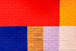 Colorful painted on brick wall decorate inside building.