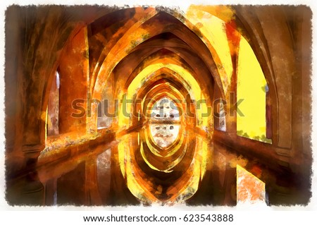 Colorful painting of Baths of Lady Maria de Padilla Alcazar Spain