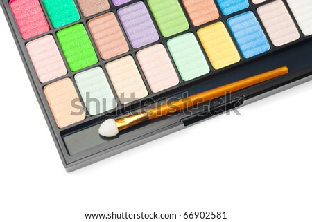 Colorful palette for makeup on white background