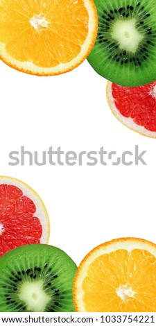 Colorful panorama with orange, kiwi and grapefruit slices. Healthy food fruit.   #1033754221
