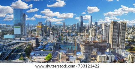 Colorful panoramic HDR image of the cloudy skyline of Tel Aviv with its skyscrapers - aerial image, Israel Stock fotó ©