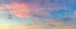 Colorful Panoramic view of  Sunset  Sunrise Sundown Sky with light clouds, panorama