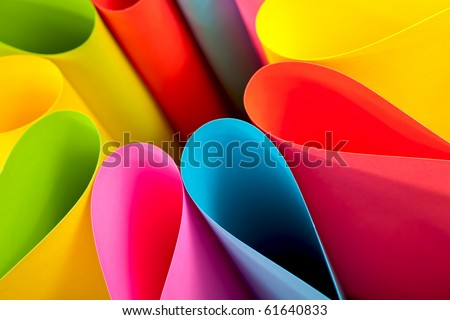 Colorful paper card stock abstract in elliptical shapes.