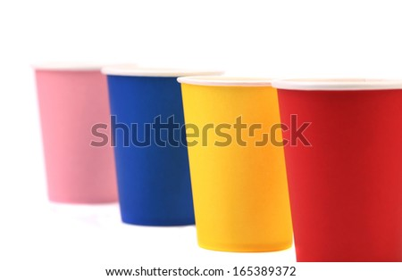 Colorful paper coffee cup. Isolated on a white background.