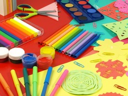 Colorful paper-cut in children's workshop,office equipment