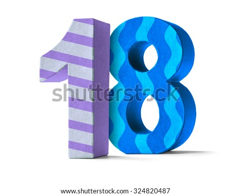 Colorful Paper Mache Number on a white background  - Number 18