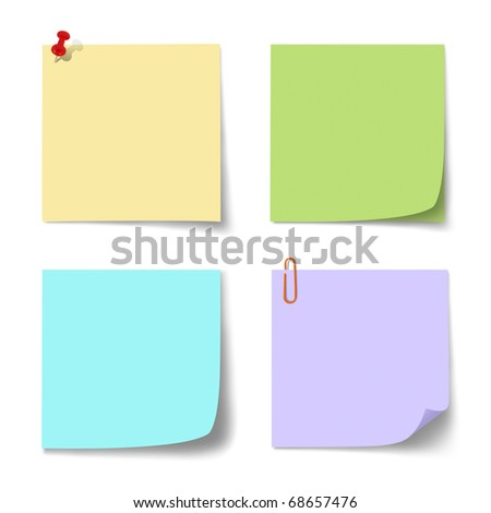colorful paper note on  isolated.