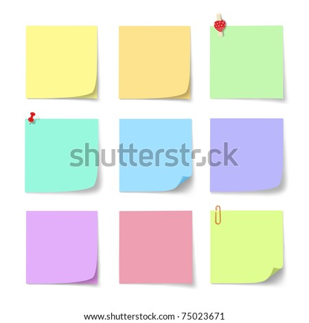 colorful paper note on white background
