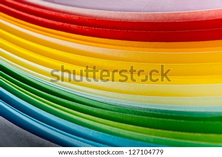 Colorful paper section in elliptical shapes