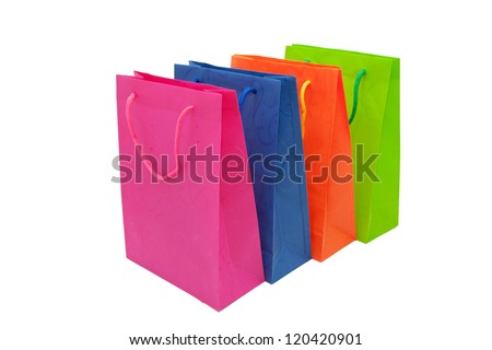 Colorful paper shopping bags. Space for your logo or symbol. Isolated on white background