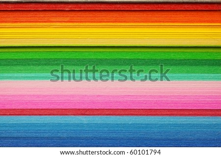 colorful paper stacked. High magnification macro.