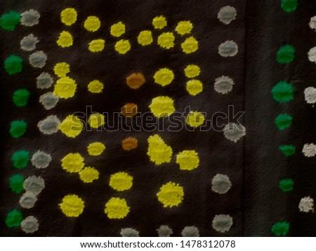 Colorful Papercut Mosaic. Dark Textured backdrop. Ornamental dots design. Abstract geometry. Modern Texture Fantastic world. Dots and Spots. Golden Dots.