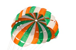 Colorful parachute for parasailing  isolated on white background