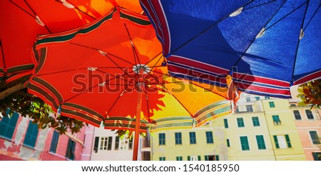 Colorful parasols in Vernazza, one of five famous villages of Cinque Terre in Liguria, Italy #1540185950