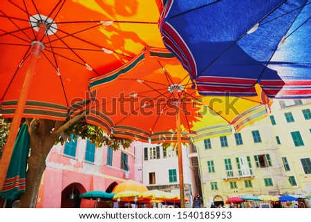 Colorful parasols in Vernazza, one of five famous villages of Cinque Terre in Liguria, Italy #1540185953