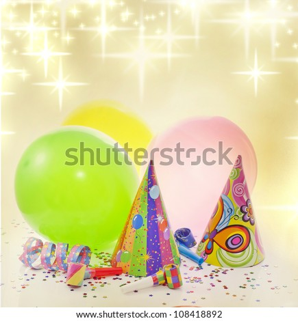 Colorful party background with balloons and other items - stock photo