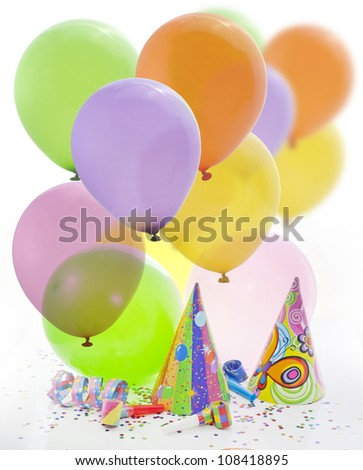 Colorful party background with balloons and other items