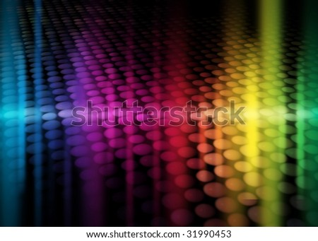colorful party background with neon figures, rainbow background - stock photo