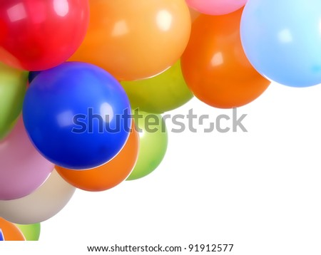 Colorful party balloons with white copy space
