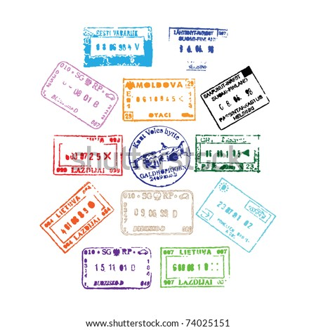 Colorful passport stamps background for your design