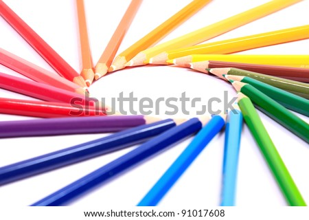 Colorful pastel pencil on white background