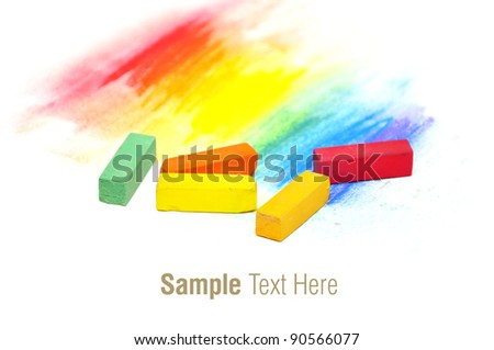 colorful pastel sticks texture over white