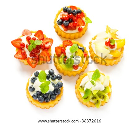 Colorful pastry isolated on a white background