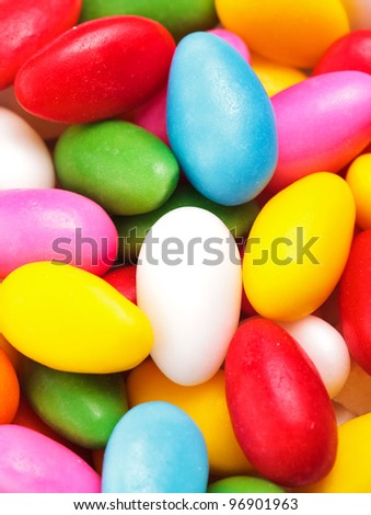 Colorful Pattern Made From Dragee Candies Abstract Food Background, Easter Card