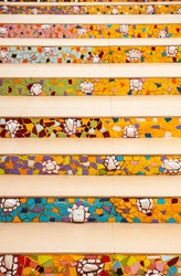 colorful pattern of stairs made from broken ceramic tile ,Thailand