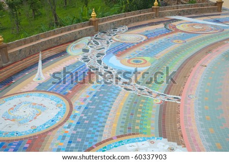 colorful pattern of the ground made from  ceramic tile and mosaic