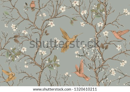 Colorful pattern with birds and flowers. Hummingbirds and flowers, retro style, floral backdrop. Spring, summer flower design for wrapping paper, cover, textile, fabric, wallpaper