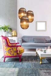 colorful patterned armchair and modern gray sofa in the living room