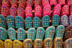Colorful, patterned Moroccan shoes for sale in Fez, Morocco
