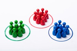 Colorful Pawns Inside The Particular Circles. Market Segmentation Concept