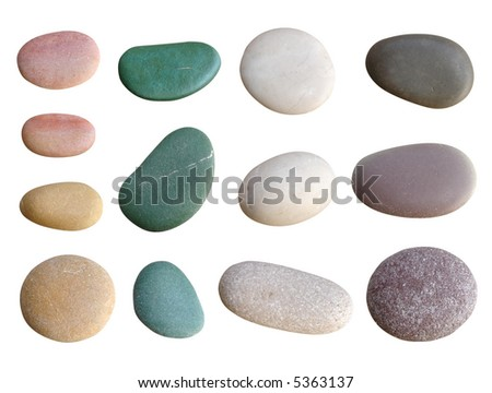 colorful pebbles isolated on white