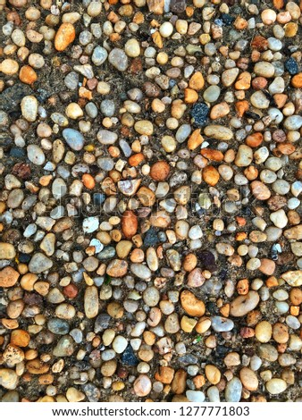 Colorful pebbles, pebbles on ground, smooth texture wallpaper #1277771803
