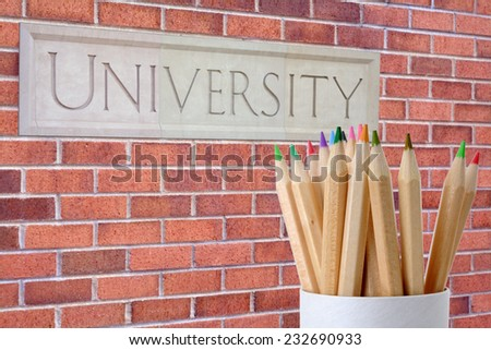 colorful pencil and university for education design purpose
