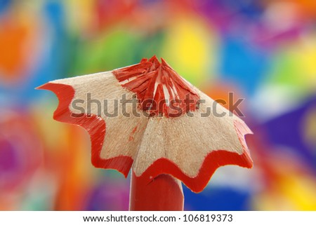 colorful pencil crayon sharpened with shavings  macro background concept