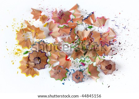 Colorful pencil shavings isolated in white background