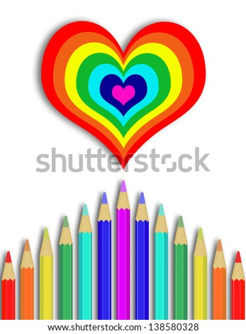 Colorful pencil will draw rainbow heart