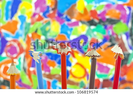 colorful pencils crayons sharpened concept background